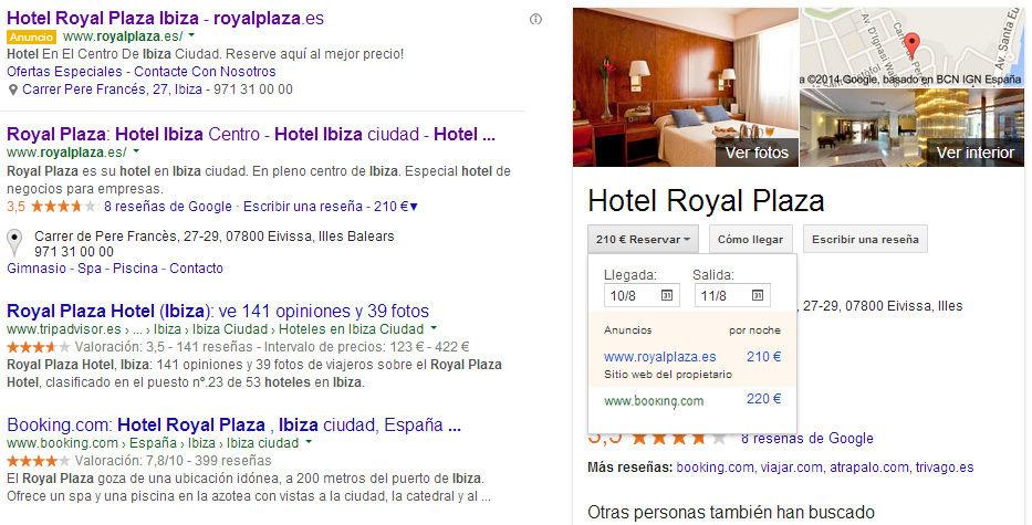 4 anuncios top de adwords hoteles