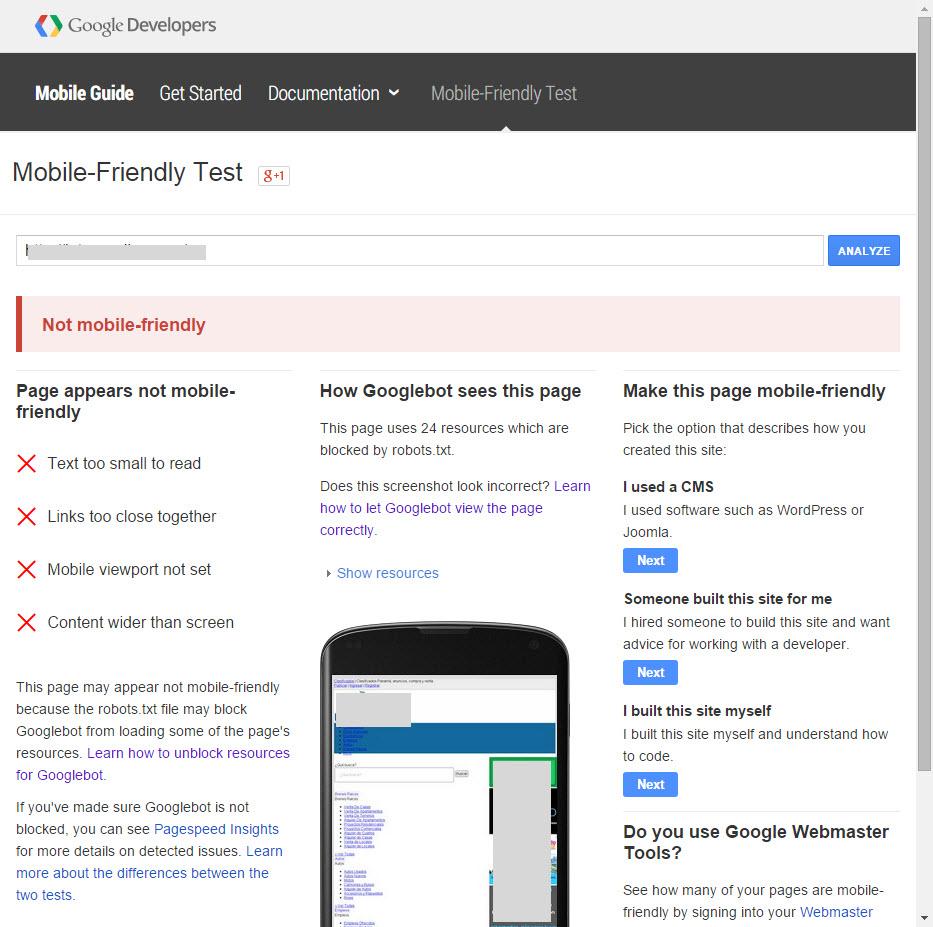 caso de sitio web NO optimizado para moviles