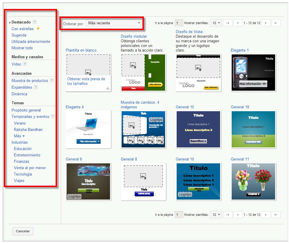 creador de anuncios graficos en google adwords opciones