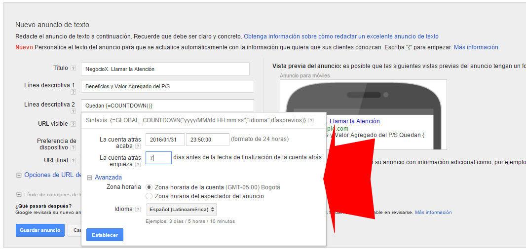 crear anuncios de google adwords con cuenta regresiva