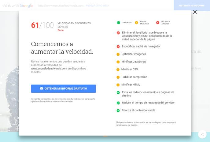 detalles de como mejorar el rendimiento de la web segun google
