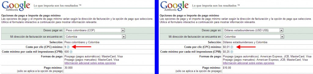 facturacion y pago con adwords