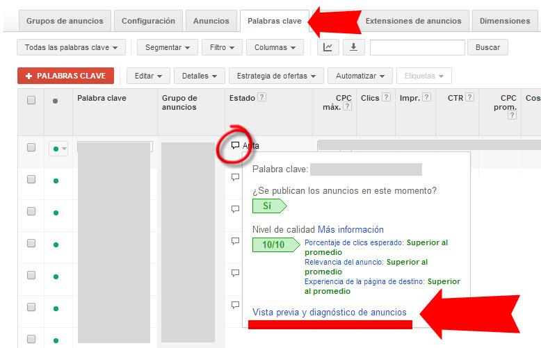 herramienta de diagnostico y vista previa de anuncios de adwords