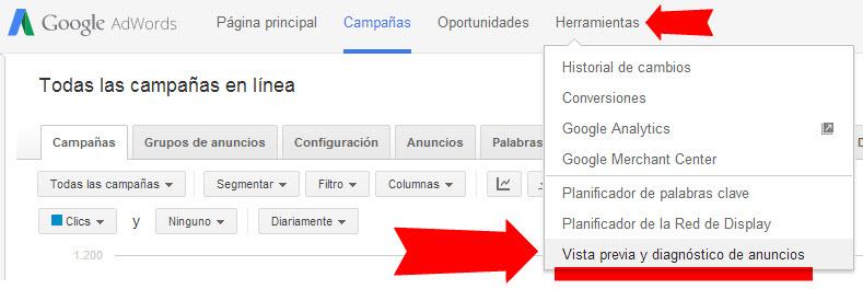 herramienta vista previa y diagnostico de anuncios de adwords