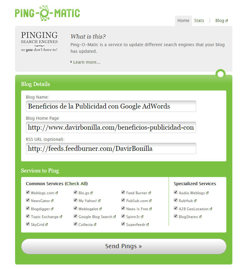 pingomatic para indexar contenido web