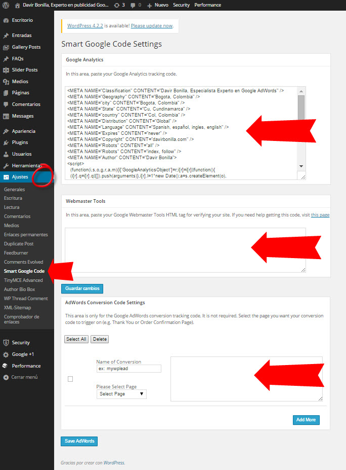 plugin wordpress para codigo de analytics