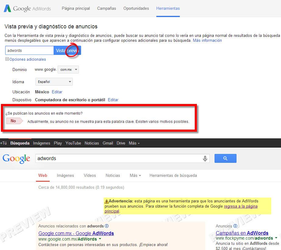 resultado de la herramienta de diagnostico y vista previa de anuncios en google adwords