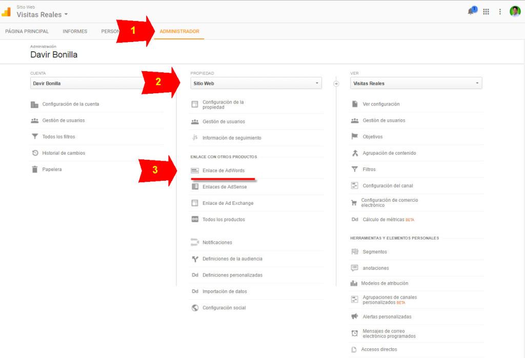 vincular la cuenta de analytics con adwords
