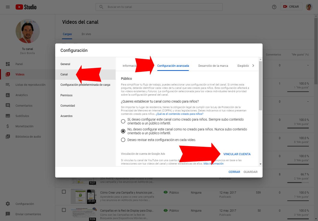 Cómo Vincular Mi Canal De Youtube Con Mi Google Ads