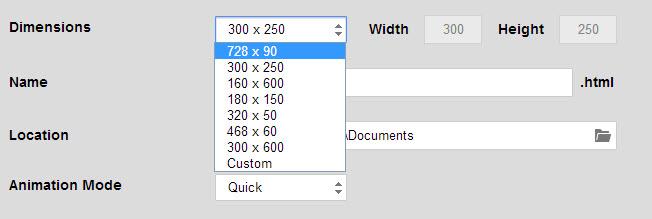 google web designer dimensions